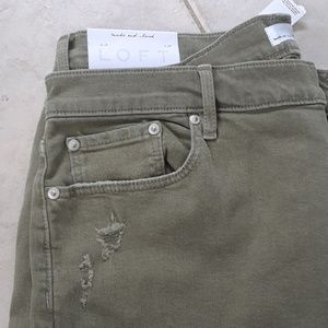 LOFT Jeans - LOFT NWT Olive Green Distressed Boyfriend Crop